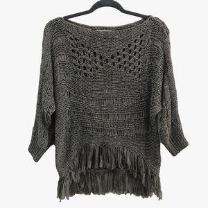ALBERTO MAKALI Crochet Fringe Sweater Size M